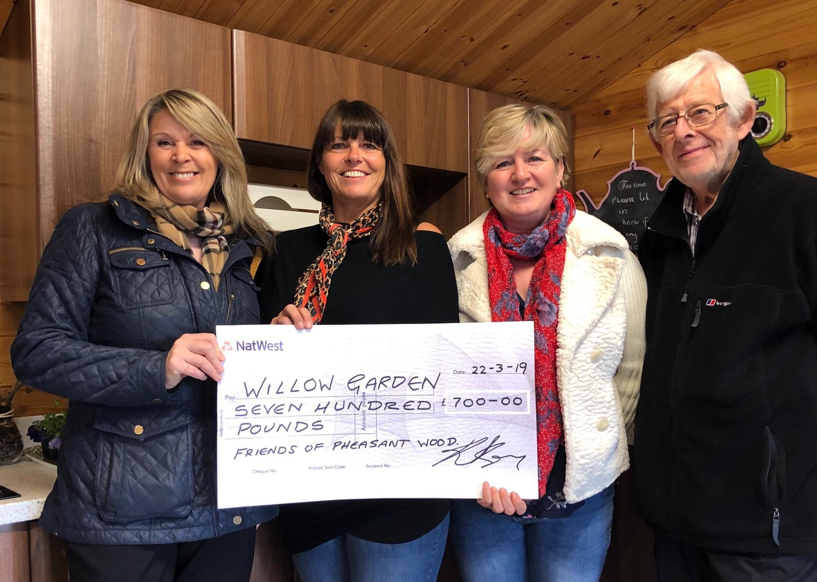 Friends Of Pheasant Wood – £700 donation for Willow